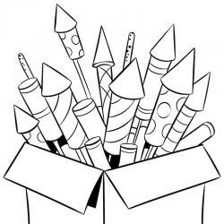 Coloriage feu d'artifice : un dessin à imprimer avec des feux d'artifices. Un coloriage à imprimer sur le thème de la Fête nationale - Page 06