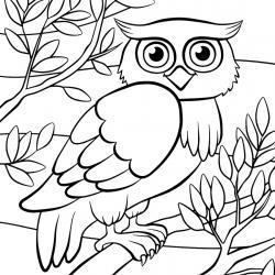 Retrouvez un coloriage de hibou ! Un dessin à imprimer gratuitement sur le thème des animaux de la forêt - Page 07