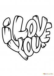 Voici le coloriage I Love You. Un joli dessin à imprimer gratuitement plein d'amour !