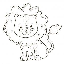 Coloriage lion : un dessin à imprimer avec un beau lion. Un coloriage à gratuit pour les petits amoureux de la savane - Page 1