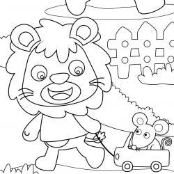 Coloriage lion : un dessin à imprimer avec un beau lion. Un coloriage à gratuit pour les petits amoureux de la savane - Page 5