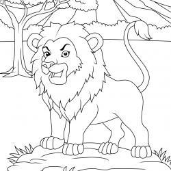 Coloriage lion : un dessin à imprimer avec un beau lion. Un coloriage à gratuit pour les petits amoureux de la savane - Page 9