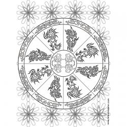 Coloriage mandala motif tribal