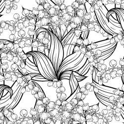 Coloriage muguet : un dessin avec du muguet à imprimer pour la fête du travail et le 1er mai. Page 3