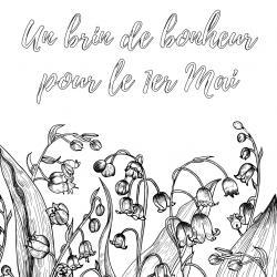 Coloriage muguet : un dessin avec du muguet à imprimer pour la fête du travail et le 1er mai. Page 5