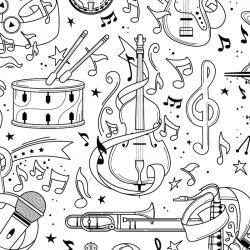 Coloriage musique : voici un dessin à imprimer sur le thème de la musique. Page 06