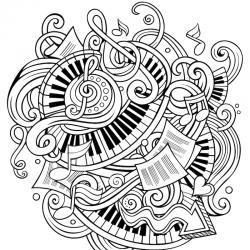 Coloriage musique : voici un dessin à imprimer sur le thème de la musique. Page 08