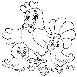 Coloriage poule : un dessin à imprimer gratuitement pour tous les petits amoureux des animaux de la ferme et de la basse cour. Page 08