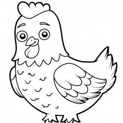 Coloriage poule : un dessin à imprimer gratuitement pour tous les petits amoureux des animaux de la ferme et de la basse cour. Page 10