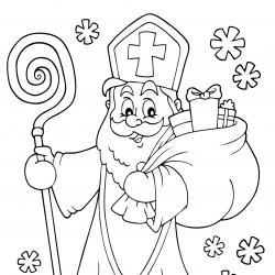 Imprimez votre coloriage de Saint Nicolas gratuitement et proposez à votre enfant de colorier un adorable St Nicolas - Page 9