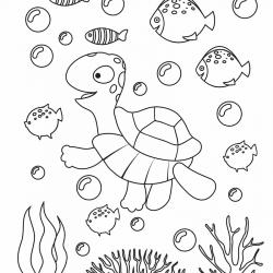 Voici un coloriage de tortue à imprimer gratuitement. Un dessin de tortue à imprimer pour tous les petits amoureux des animaux de la mer. Page 01