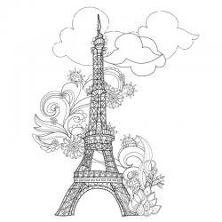 Coloriage tour Eiffel : un dessin à imprimer avec la dame de fer. Un coloriage à imprimer sur le thème de Paris et de la France - Page 06