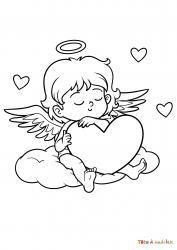 Coloriez et imprimez un coloriage d'un petit ange posé sur son nuage avec un gros coeur dans les bras.