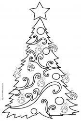 Dessins à imprimer gratuitement avec des sapins de Noël