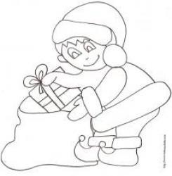 coloriage d'un lutin du père Noël devant le sapin