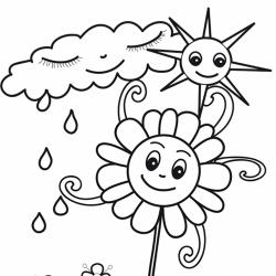 Des dessins à imprimer et à colorier sur le thème de la pluie