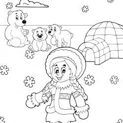Imprimez votre coloriage d'igloo ou d'esquimaux gratuitement et proposez à votre enfant un joli coloriage sur le thème de la banquise et de l'hiver.