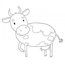 Voici un dessin de vache pour tous les enfants qui aiment les bovins et les animaux de la ferme - Page 1