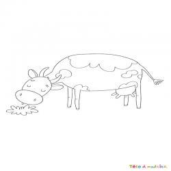 Voici un dessin de vache pour tous les enfants qui aiment les bovins et les animaux de la ferme - Page 2