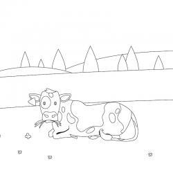 Voici un dessin de vache pour tous les enfants qui aiment les bovins et les animaux de la ferme - Page 6