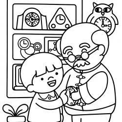 Voici un dessin de Grand Père à imprimer gratuitement. Un coloriage pour tous les enfants qui adorent leur papi. Page 04