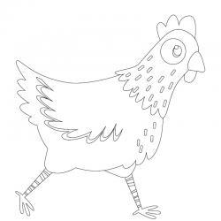 Voici un dessin poule à imprimer pour les enfants qui adorent ces animaux de la ferme ou pour Pâques - Page 4