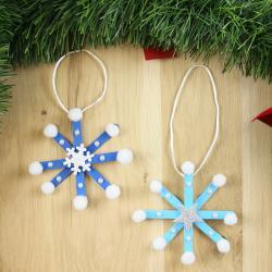 Une activité de bricolage pour réaliser des flocons de Noël déco qui sera très drôle pour Noël
