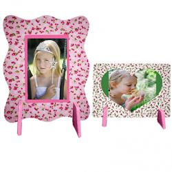 2 cadres photos décorés de tissu