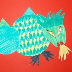 Collage de formes en papier pour réaliser un dragon. Les différents éléments géométriques en papier sont découpés puis coloriés avant d'être coll&