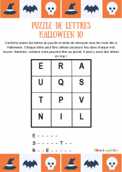 Grille de jeu N°10 des puzzles de lettres sur Halloween. Les enfants devront utiliser les lettres de cette grille pour écrire 3 mots extraits du vocabulaire d'Halloween et du monde des revenants !