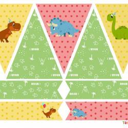 Printables pour un anniversaire sur le thème des dinosaures à imprimer pour organiser votre anniversaire dinosaure ! Des fanions a accrocher sur une ficelle et des cake toppers à plier en deux et à mettre sur des cure dents afin de décorer vos gateaux.