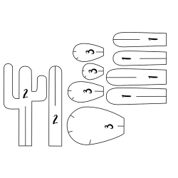 Le gabarit du cactus en papier à télécharger et à imprimer gratuitement