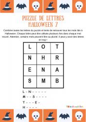 Jeu de vocabulaire sur Halloween, voici le puzzle de lettres N°7 sur le vocabulaire d'Halloween. Avec les lettres proposées dans cette grille, votre enfant devra découvrir 4 mots du vocabulaire d'Halloween.