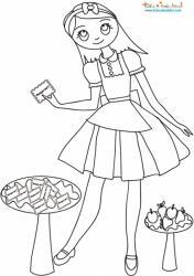 Alice devant les gâteaux