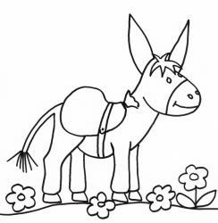 coloriage d'un âne portant un sac