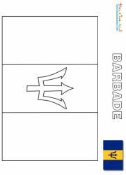 Coloriage drapeau de la Barbade