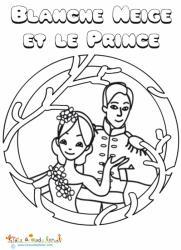 Blanche Neige et le prince à colorier