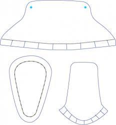 Modèle d'éléments d'un chausson à imprimer , à découper pour ensuite les coller et former une boite à gragée en forme de chausson.