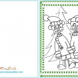 Carte à cadeaux de Noël à colorier