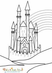 Coloriage château et l'arc en ciel