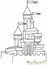Coloriage chateau derrière le mur