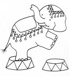 coloriage d'un éléphant du cirque