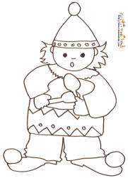 Coloriage enfant clown au tambour