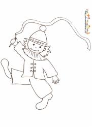 Coloriage enfant clown au ruban