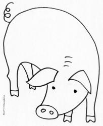 Coloriage d'un cochon de la ferme à imprimer : cochon vu de face avec sa tête et sa queue en tire-bouchon