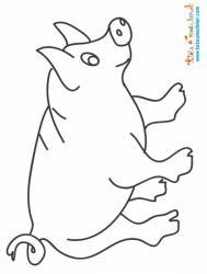Dessin d'un cochon de la ferme à colorier avec des crayons de couleur. Un coloriage de cochon à imprimer pour colorier les animaux de la ferme