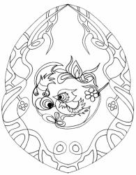 Coloriage sur la chine : 2 oiseaux dans un médaillon