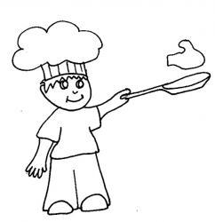 Coloriage de l'enfant qui fait les crêpes