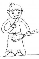 Coloriage de la Chandeleur : goûter les crêpes