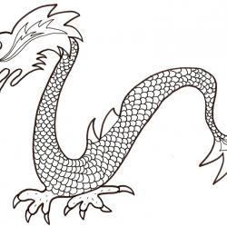 Coloriage de dragon chinois à écailles